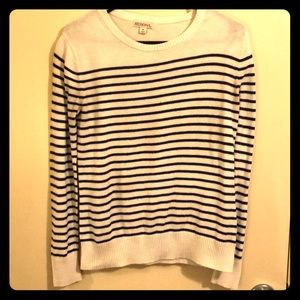 Cozy White Striped Sweater with Navy Blue Stripes